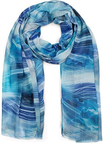 styleBREAKER Damen Schal mit maritimem Wellen Muster Print, Stola, Halstuch, Tuch 01016197, Farbe:Blau-Weiß
