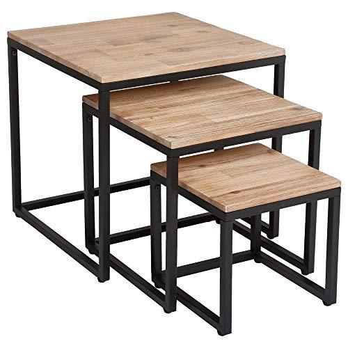Atmosphera Juego de 3 mesas auxiliares anidadas de Madera y Metal Efecto Blanquecino- Estilo Industrial, Vintage, Taller