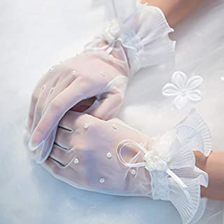 Short Lace Gloves Floral Wedding Gloves for Womens Ladies
