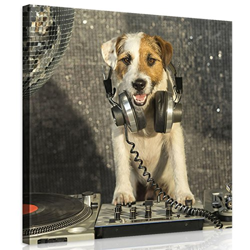 Welt-der-TräumeWANDBILD CANVASBILD Wandbild Leinwandbild Kunstdruck Canvas | DJ-Disco-Hund mit Kopfhörer | O2 (80cm. x 80cm.) | Canvas Picture Print PP10383O2-MS | Natur Kinder Tier Tiere Hund Hunde Disco Musik