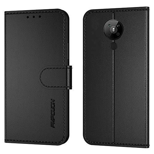 FMPCUON Handyhülle Kompatibel mit Nokia 5.3(Neueste),Premium Leder Flip Schutzhülle Tasche Hülle Brieftasche Etui Hülle für Nokia 5.3(6.55 Zoll),Schwarz