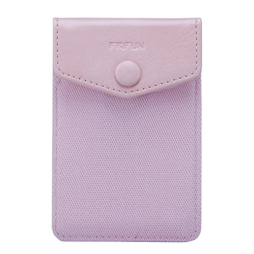 FRIFUN Card Holder for Back of Phone with snap Ultra-Slim Self Adhesive Phone Wallet Stick on Cell Phone Android All Smartphones RFID Blocking Sleeve Covers Credit Cards and Cash (Pink)