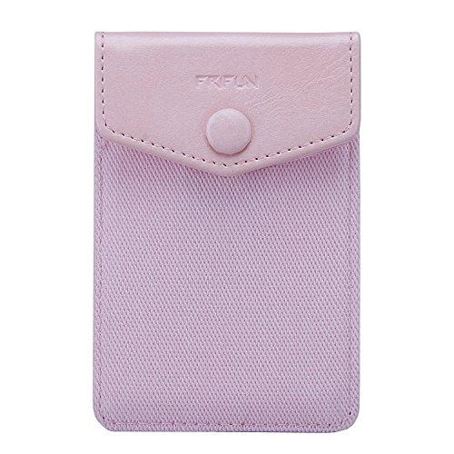 FRIFUN Kartenhalter für Handyrückseite mit Schnappverschluss, ultradünn, selbstklebend, für Handy, Android, alle Smartphones, RFID-blockierende Hülle, Hüllen für Kreditkarten & Bargeld, Rosa