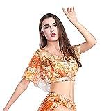 ROYAL SMEELA Danza del Vientre Top Danza del Vientre Sexy Top Danza de la Moda Top Performance Clothing Danza del Vientre Traje Naranja