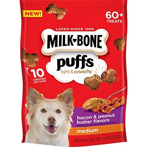 Milk-Bone Puffs Dog Treats, Peanut Butter & Bacon Flavors, Medium Treats, 8 Ounces (Pack of 4)