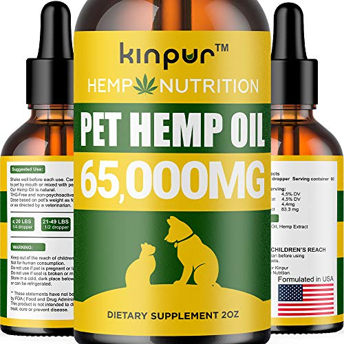 Hemp Oil for Dogs & Cats - 65000 - Calming Mood, Anxiety & Stress Relief - Hip & Joint Support - Natural Pet Hemp Oil - Calming Treats for Dogs- Made in USA - Omega 3, 6 & 9