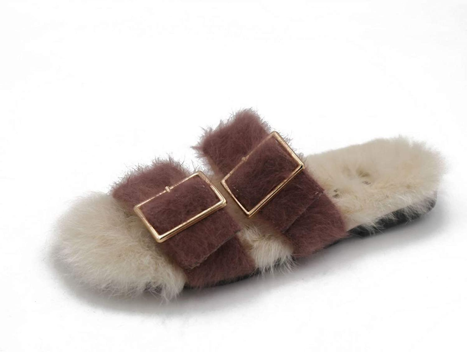 Womens Slippers Fashion Buckle Home shoes Fall and Winter Flat Heel Slippers & Flip-Flops for Outdoors Home