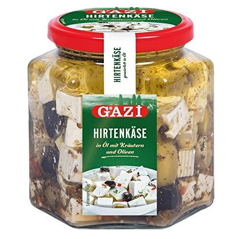 Gazi Hirtenkäse in Öl mit Kräutern und Oliven - 2x 375g Glas - Kuhkäse Käse Cow Cheese in Rapsöl 45% Fett i. Tr. aus 100% Kuhmilch mild mikrobielles Lab vegetarisch glutenfrei Halal