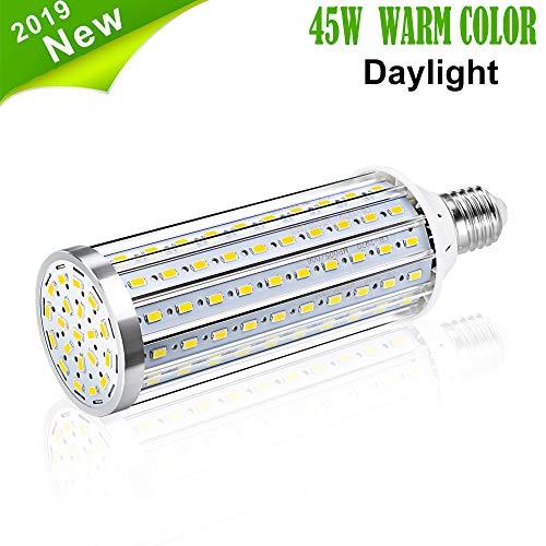 Bombilla de Luz LED Para Maíz, Vaxiuja E27 Bombilla LED Lámpara de Retroalimentación de Alta Potencia, Bombilla LED Reflector de 360 Grados Para garaje Entrada de Auto (Blanco cálido, 45W)