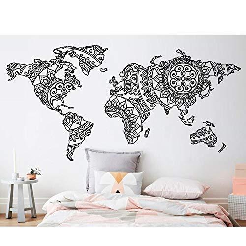Mandala World Map Etiqueta de la pared Etiqueta de la pared Extraíble Arte de la pared Mural Yoga Wall Art Tatuajes de pared Otro color 115x57cm