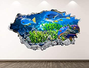 West Mountain Aquarium Wall Decal Art Decor 3D Smashed Coral Reef Fish Sticker Poster Kids Room Mural Custom Gift BL167  22  W x 14  H
