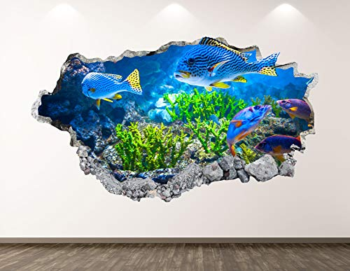 West Mountain Aquarium Wall Decal Art Decor 3D Smashed Coral Reef Fish Sticker Poster Kids Room Mural Custom Gift BL167 (22' W x 14' H)