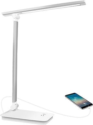 AUELEK - Lámpara de escritorio LED USB recargable, 1800 mAh, 5 modos de color, 3 niveles de luminosidad, protección de los ojos, diseño giratorio / control táctil [Clase de eficiencia energética A]