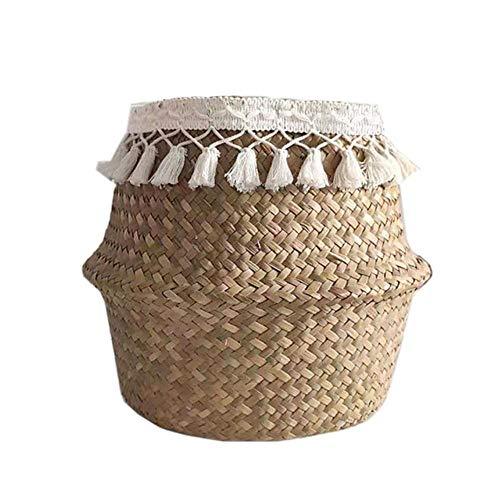 SASDA Seagrass Basket White Tassel Wicker Basket Foldable Natural Seagrass Woven Storage Baskets Garden Flower Pot Storage Bellied Basket Home Decor,White Tassel,XL 36 x 32cm