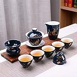 ZHOUYUFAN - Juego de té azul Kung Fu Ji, regalo creativo promocional de negocios, regalo de aniversario, juego de té de cerámica (color: Garza (Ephemerian))