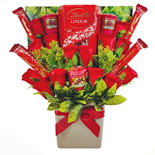 Large Yankee Candle Selection Bouquet Gift Hamper with Lindt Chocolates & Silk Red Roses