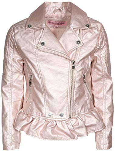 Urban Republic Toddler & Big Girls Faux Leather Motorcycle Moto Biker Jacket (14, Rose Metallic)'
