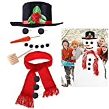 iBaseToy Snowman Kit - Snowman Making Kits Snowman Building Kit for Kids - Includes Hat Scarf Wooden Carrot-Nose Tobacco Pipe and Black Dots for Eyes Mouth Buttons - Winter Outdoor Fun Snow Toys