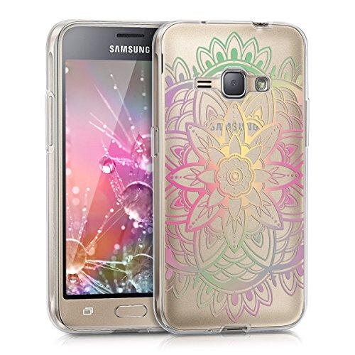 kwmobile Cover Compatibile con Samsung Galaxy J1 (2016) - Custodia in Silicone TPU - Backcover Protettiva Cellulare Girasole Multicolore/Fucsia/Trasparente