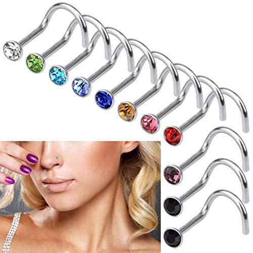 Lumanuby Set de 30 piercings de nariz de titanio y acero quirúrgico, de tamaño pequeño, finos, abiertos, de varios colores