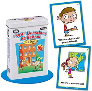 Super Duper Publications WH Questions At School Fun Deck Flash Cards Educational Learning Resource for Children