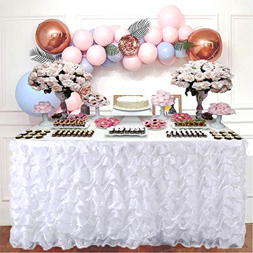 """Adeeing Handmade Elegant Wave Accordion Pleat Polyester Tulle Table Skirt Cover Tablecloth For Party,Wedding,Home Decoration,106"""" Long by 31"""", White"""