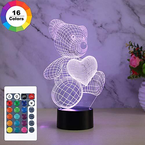 Teddybär 3D Lampe, Teddybär Mit Herz, Dimmbare 3D Nachtlicht Mit 16 Farben Ändern Und Fernbedienung, Nachttischlampen für Kinder Weihnachten Geburtstag Beste Geschenk Spielzeug