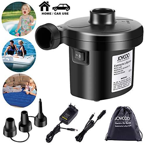 Joycoo Elektrische Luftpumpe Elektrische Pumpe Inflator Deflator für aufblasbare Matratze Kissen Bett Boot Schwimmring 2 in 1 AC 230 V EU Stecker/DC 12V Kfz-Adapter …