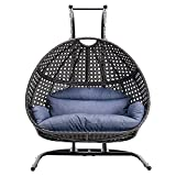 Hanging Egg Chair with Stand, 2 Person Heavy Duty Hanging Wicker Rattan Swing Chair Basket Hammock Nest Seat with Cushion for Indoor Outdoor Patio Lounger Perfect for Balcony Garden Decoration (Blue)