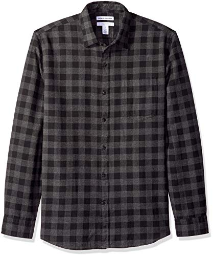 Amazon Essentials Herren-Flanellhemd, schmale Passform, Langarm, kariert, Charcoal Buffalo Plaid, S