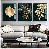 zzxywh Moderne, Impression sur Toile, Peinture, Art, Abstrait, doré, Plante, Feuilles, Affiche, Mur, Salon, décoration Unique, 40 × 60cm × 3, sans Cadre