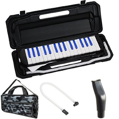 KC 鍵盤ハーモニカ (メロディーピアノ) ブラック/ブルー P3001-32K/BKBL + 専用バッグ[Mono Camouflage] + 予備ホース + 予備吹き口 セット