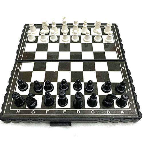 Faltbare internationale Schach-Set magnetische Kunststoffstücke, Reisefamilie Mini-Schachbrett-Board Pädagogisches Spielzeug, tragbare Casual Checkers Spiel Puzzlespielzeug für Kinder und Erwachsene