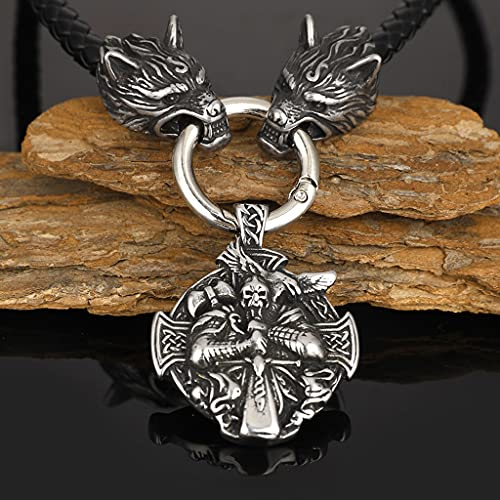 Collar Amuleto Tótem con Escudo Cuervo Vikingo Odin para Hombre, Collar con Colgante Sello Cruz...