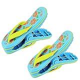 LYTIVAGEN 1 Par de Pinzas de Plástico para Toallas, Clips Diseñados de Chancleta para Toalla de Playa, Pinzas Grandes para Colgar Ropa, Sábana, Toalla en Hogar, Balcón,Playa, Piscina (Azul)