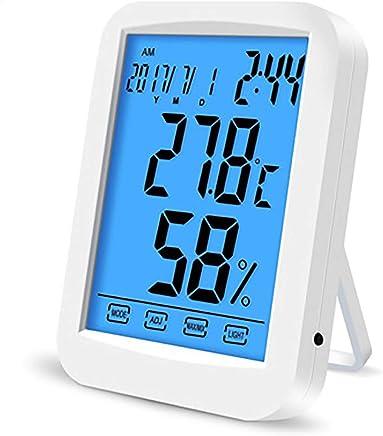 デジタル湿度計、温室の庭のワインセラーのための高精度のABS物質的で調節可能な明るさのタッチ画面 - 無線気象の場所