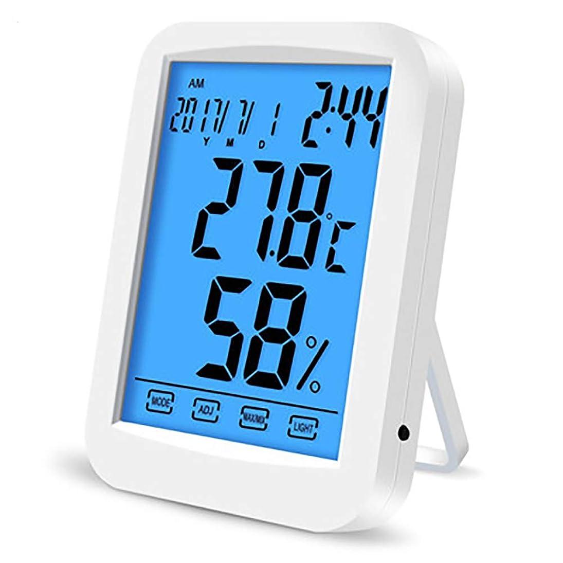 防止敏感な回路デジタル湿度計、温室の庭のワインセラーのための高精度のABS物質的で調節可能な明るさのタッチ画面 - 無線気象の場所