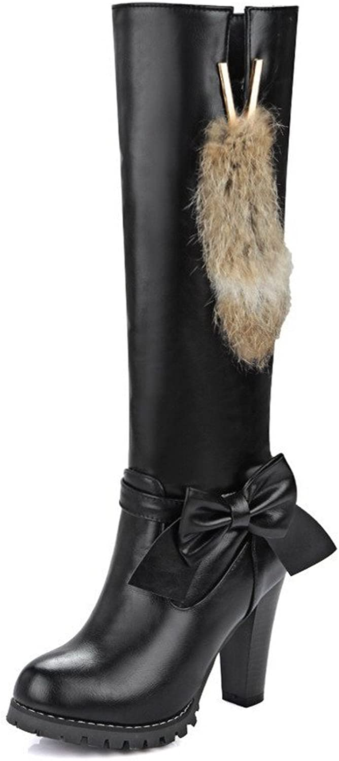 WeiPoot Women's High-Heels Soft Material High-top Solid Pull-on Boots with Bows