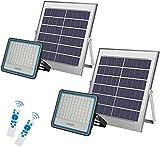 2 * Foco Solar LED 100W ,Foco 100W Solar Mando a Distancia con Mando a distancia Luz blanca 6500K,LED Solar Exterior Hasta 15 HORAS de Luz,Lámpara Solar 176 LEDS IP67 Impermeable