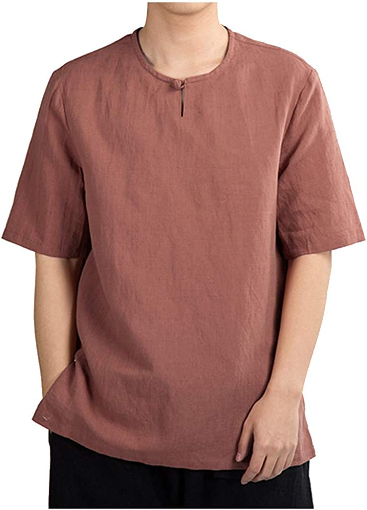 DIOMOR Mens Casual Linen Cotton Comfy Henleys Tees Shirts Fashion Pure Color Baggy Short Sleeve Blouses Tops Pullover