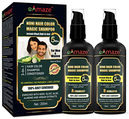 eAmaze NONI Hair Color Shampoo, Natural Black 200ml | Instant Black Hair in Just 5 Minutes | For Both Men & Women | No Ammonia, No Paraben | Enriched with Noni, Almond, Olive, Argan & Aloe Extracts