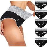 Photo de Cocila sous-vêtements en Coton Taille Haute pour Femmes Slip Extensible Doux pour Dames Culottes Lingerie sous-vêtements Lot de 4/5