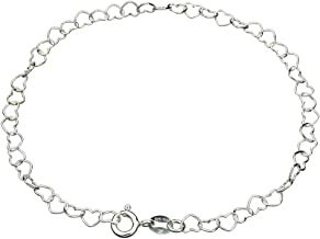 Sterling Silver Heart Link Nickel Free Chain Bracelet Italy, 7.5