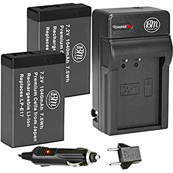 BM Premium 2-Pack of LP-E17 Batteries and Battery Charger for Canon EOS M6 Mark II Rebel T6i T6s T7i T8i Rebel SL2 SL3 EOS RP EOS 77D EOS 750D EOS 760D EOS 8000D KISS X8i Cameras