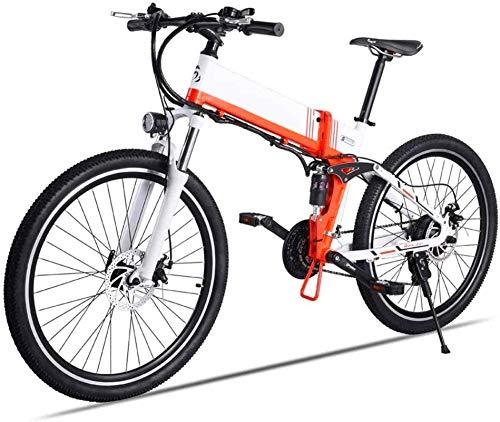 WJSWD Bicicleta de nieve eléctrica de 26 pulgadas, bicicleta de montaña eléctrica de 500 W, 48 V, freno de aceite, bicicleta de viaje de 40 km/h para adultos, batería de litio para adultos