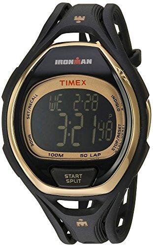 Timex Unisex TW5M06000 Ironman Sleek 50 Full-Size Black/Gold-Tone Resin Strap Watch