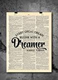 Harriet Tubman - Every Great Dream Begins With A Dreamer - Dictionary Art Print - Vintage Dictionary Art Decor Home Vintage Art Abstract Prints Wall Art Home Decor Wall Decorations - Print Only - D154