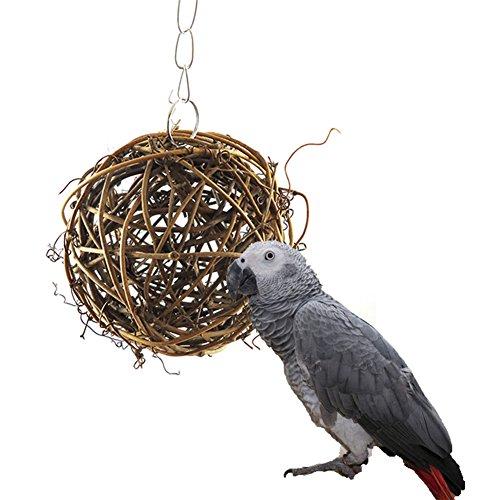 Natur Rattan Kugeln Kauspielzeug für Vogel Papagei African Greys Sittiche Nymphensittiche Sittiche Aras Unzertrennliche Käfig Spielzeug