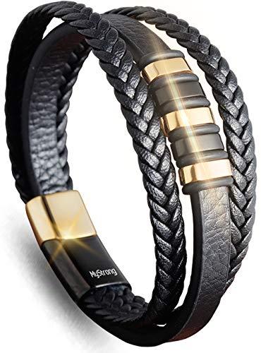 MyStrong Men's Leather Bracelet Stainless Steel Magnetic Clasp - Stylish Braided Mens Bracelets Wrist - Multilayer Leather Cuff Bracelet Magnet Closure - Charm Leather Bracelet for Men Women, Black
