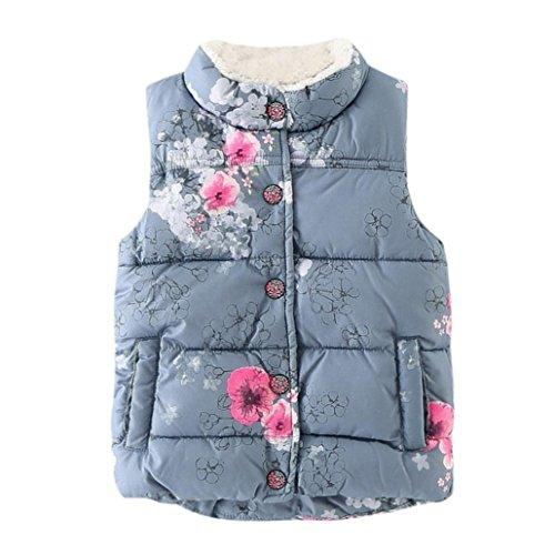 Lenfesh Lenfesh Baby Mädchen Karikatur Blumen Gedruckt Hooded Weste Ärmellose Jacken Wintermantel mit Reißverschluss (120/4 Jahre, Blume)